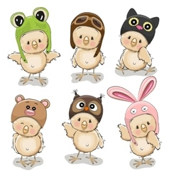 Six cute chicks vector image vector image