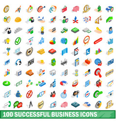 100 successful business icons set isometric style vector