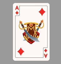 Ace of diamonds playing card vector image vector image