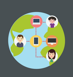 concept of connecting people with technology vector image vector image