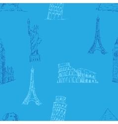 Doodle Travel pattern World famous landmarks vector image vector image