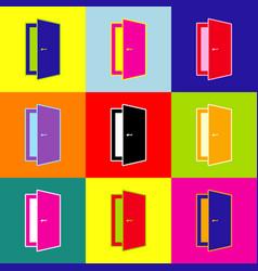door sign pop-art style vector image