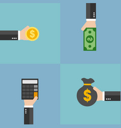 finance management flat design set vector image