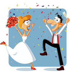 Funny bride and groom dancing at their wedding vec vector