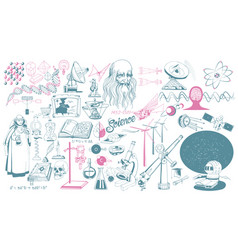Hand drawn scientific icons collection vector