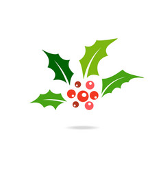 holly berry icon vector image vector image
