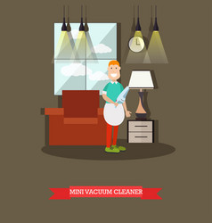 mini vacuum cleaner flat vector image