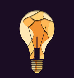 3d layer a light bulb carved paper on dark vector