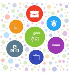 7 school icons vector