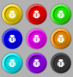 Backpack icon sign symbol on nine round colourful vector