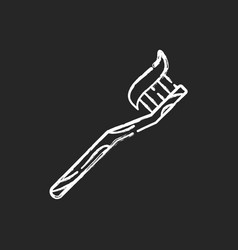 Bamboo toothbrush chalk white icon on black vector
