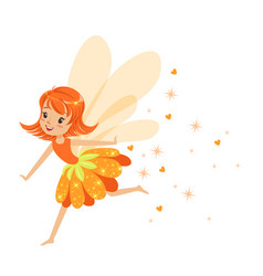 beautiful smiling orange fairy girl flying vector image