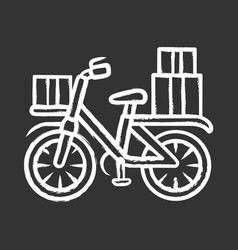 bicycle delivery chalk icon bike with parcel vector image