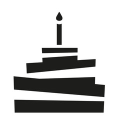 black and white birthday cake silhouette vector image