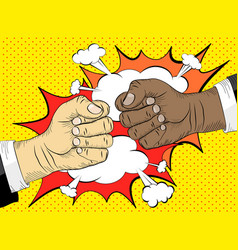 Black life matters two hands in bumping together vector