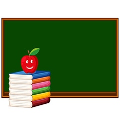 Blackboard and stack of books vector image