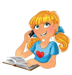 Blond girl and phone and book vector image vector image