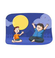 Boy tell shock story to a man in full moon night vector