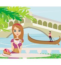 Cafe in Venice gondola in the background vector