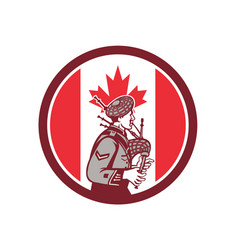 canadian bagpiper canada flag icon vector image
