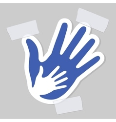 Caring hand with a plaster healthcare emblem vector