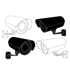 cctv security camera set black and white outline vector image