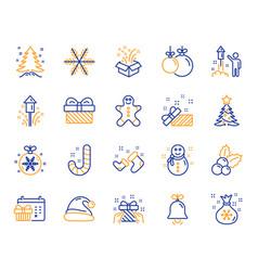 christmas line icons set of santa hat vector image