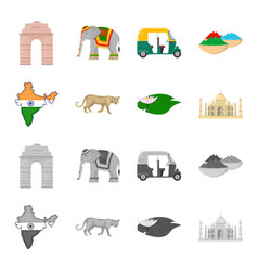 Country india cartoonmonochrome icons in set vector