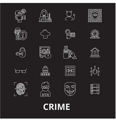 Crime editable line icons set on black vector