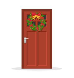 door with christmas wreath vector image
