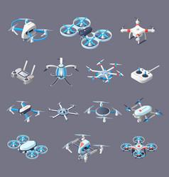 Drones isometric icons vector