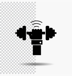 Dumbbell gain lifting power sport glyph icon on vector