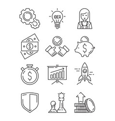 finance line icons business symbols team strategy vector image