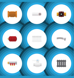 flat icon sanitary set of tap heater container vector image