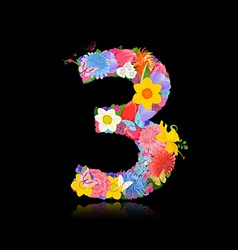 Fun number of fancy flowers on black background 3 vector image