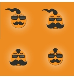 Funny faces with a mustache vector image