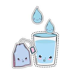Glass water with tea bag kawaii character vector