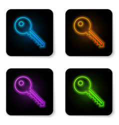 glowing neon key icon isolated on white vector image