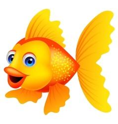 Golden fish cartoon vector image