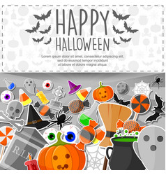 halloween banner with flat stickers background vector image
