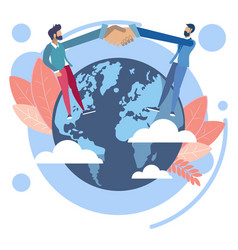 handshake on earth globe vector image