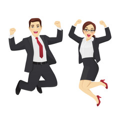 happy business man and woman vector image