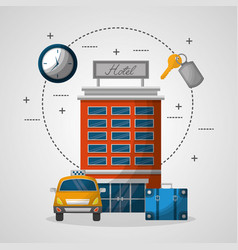 Hotel building taxi suitcase service vector