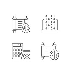 humanities and applied subjects linear icons set vector image