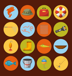 Icon set fishing enjoy it vector