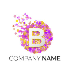 Letter b logo with purle particles and bubble dots vector