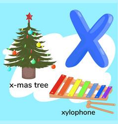 Letter x children s alphabet vector