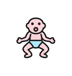 little baby in diapers flat color icon vector image