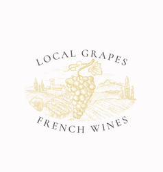 Local grapes french wines vineyard retro badge or vector