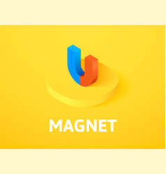 Magnet isometric icon isolated on color vector